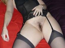 Cougar Nice : bas noir sans culotte