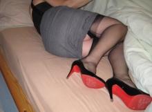 Femme sexy en talons et bas nylon