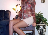 Chemisier, jupe courte et collants - Tenue sexy