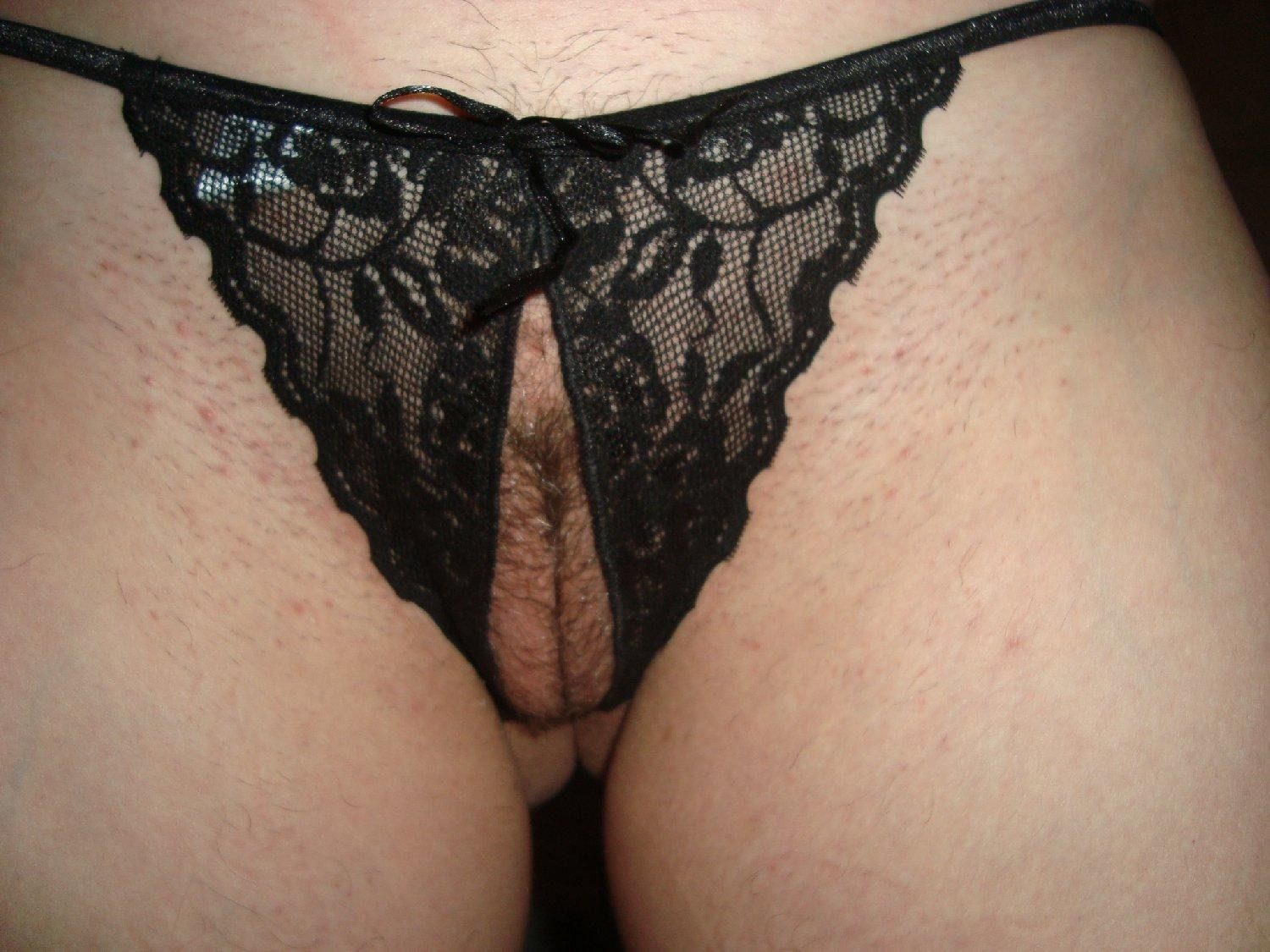 Panties with pubic hairs