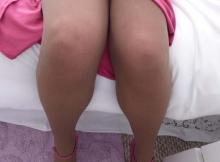 Jambes en collants - Femme mature