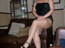 Blonde mature en bas nylon couleur chair