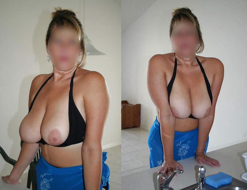Femme COugar nîmoise exhibe ses gros seins naturels